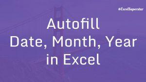 Autofill excel -Dates