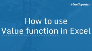 Value function in Excel