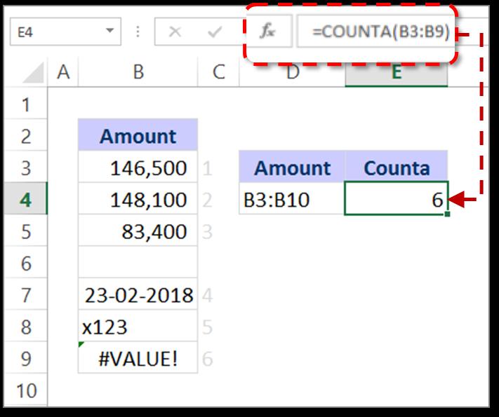 Counta formula in Excel - Excel Formulas
