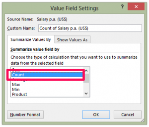 Frequency distribution - Value field Settings Count