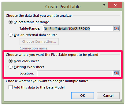 Pivot Table in Excel - Pivot Table Dialog Box