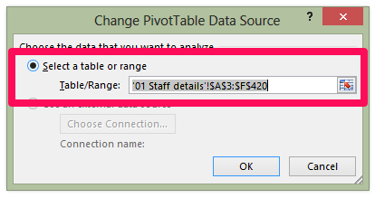 update Pivot Table - Change Data source Dialog box