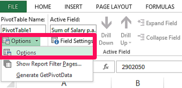 update Pivot Table - Options