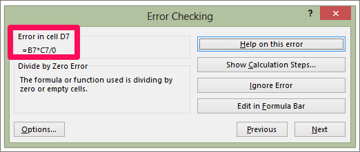 Formula Auditing - Error Checking Dialog Box