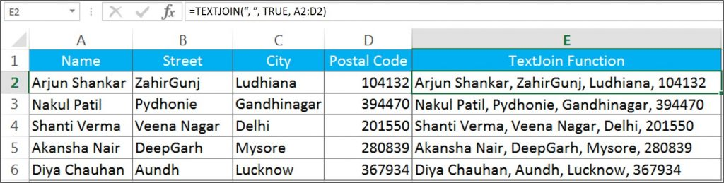 Text Join Function in Excel